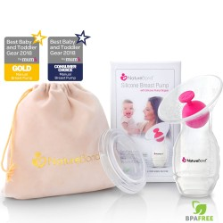 美國 NatureBond Silicone Breastmilk Pump with Stopper 矽膠手動泵奶/接奶器連防漏塞