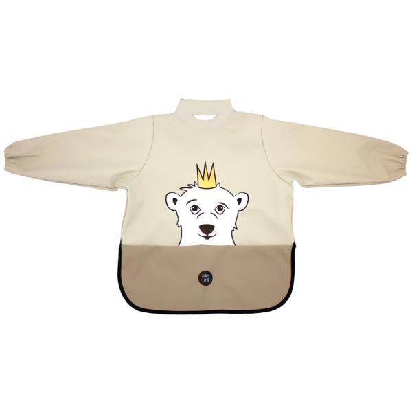 挪威 BabyLivia 防水樽領長袖飯衣(米色北極熊)