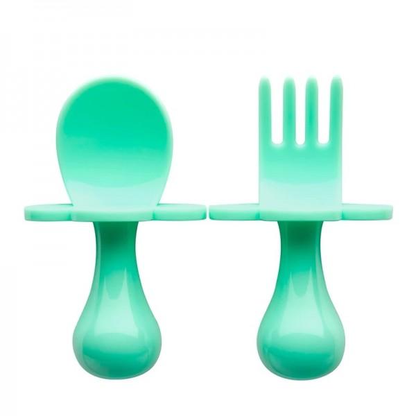美國 GRABEASE 雲朵學習餐具(薄荷綠)
