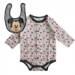 日本 Disney Baby 長袖連身衣連口水肩套裝-米奇/米妮