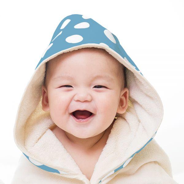 【台灣製】Nizio 小蘑菇天然棉紗浴巾(粉藍白點)