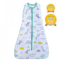 【土耳其製】Owli 四合一包被睡袋 (綠色動物園) | 一件可從初生著到3歲