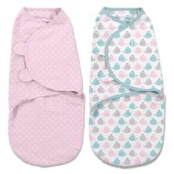 美國 SwaddleMe 初生嬰兒包被兩件裝 (粉紅鯨魚)